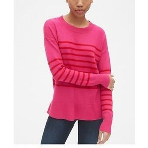 GAP PINK RED stripe tunic style sweater NWT MT